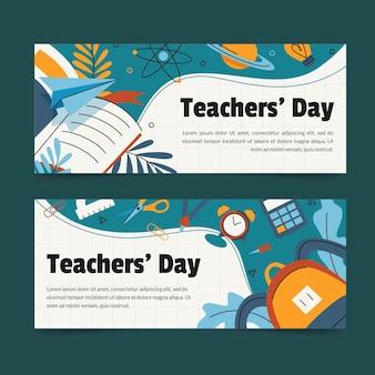 Handgetekende lerarendag banners set