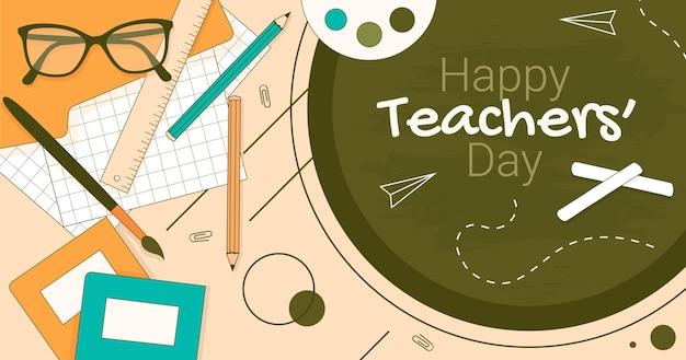 Handgetekende lerarendag social media postsjabloon