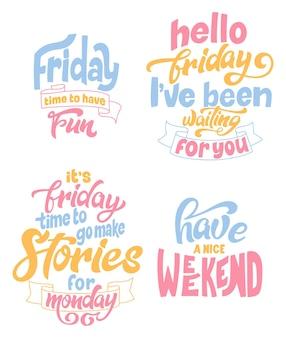 Handgetekende letterign citaat over weekend en rust. geniet van vakantie. moderne inspirerende fase voor poster, print, kaart, banner. vector illustratie.