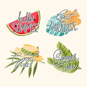 Handgetekende letters met bladeren van palmbomen, watermeloen, hoed.