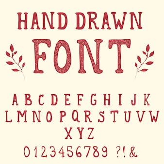 Handgetekende lettertype. vintage alfabet.