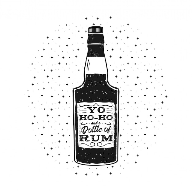 Handgetekende leuke rum poster met fles en citaat - yo-ho-ho en een fles rum.