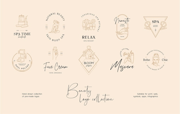 Handgetekende lijn kunst schoonheid vector logo ontwerp sjabloon collectie
