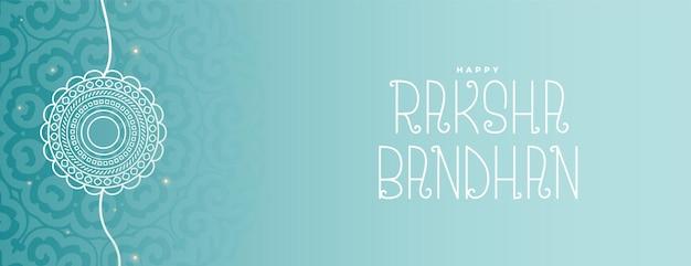 Handgetekende lijnstijl raksha bandhan breed bannerontwerp