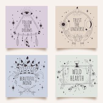Handgetekende lineaire boho-kaarten
