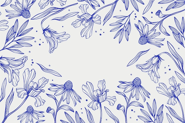 Handgetekende lineaire gegraveerde bloemenachtergrond