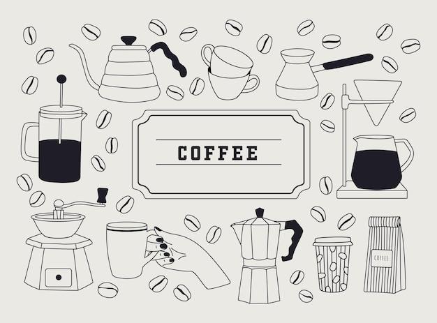 Handgetekende lineaire set met koffie spullen en apparatuur