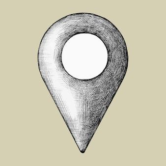 Handgetekende locatie pin illustratie