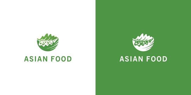 Handgetekende logo's voor aziatisch eten premium vector
