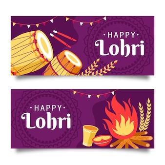 Handgetekende lohri banner set