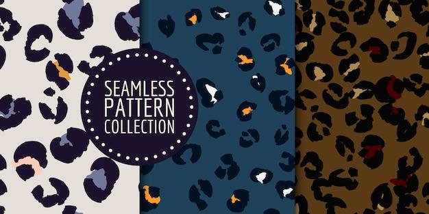 Handgetekende luipaard vlekken naadloze patroon set