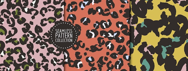 Handgetekende luipaardvlekken naadloos patroon ingesteld