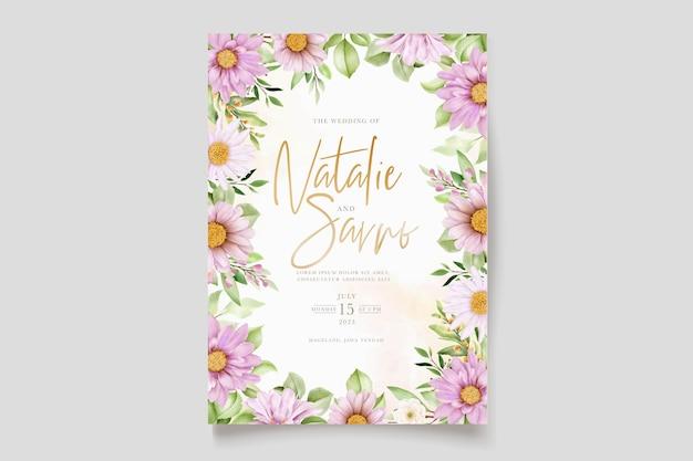Handgetekende madeliefje aquarel bloemen en bladeren uitnodigingskaart set
