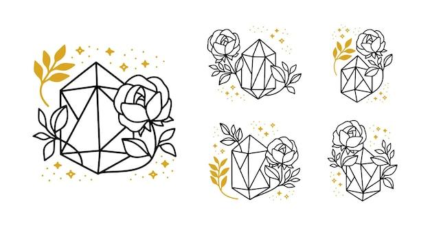 Handgetekende magische logo-elementen met kristal, roze bloem, botanisch blad en sterren