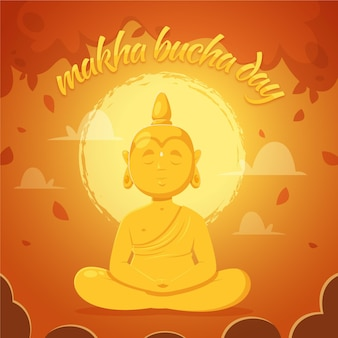 Handgetekende makha bucha dag illustratie
