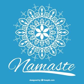 Handgetekende mandala blauwe namaste achtergrond