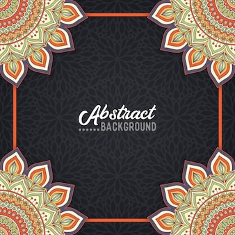 Handgetekende mandala op de aquarel achtergrond