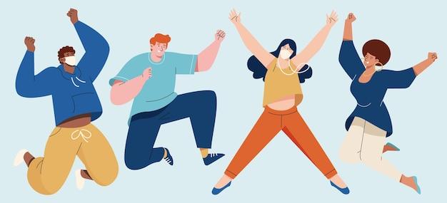 Handgetekende mannen en vrouwen springen