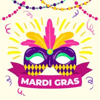 Handgetekende mardi gras viering concept