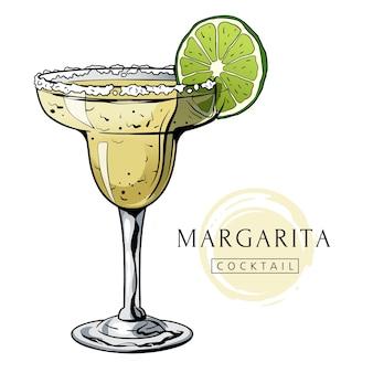 Handgetekende margarita-cocktail met ijsmunt en limoen