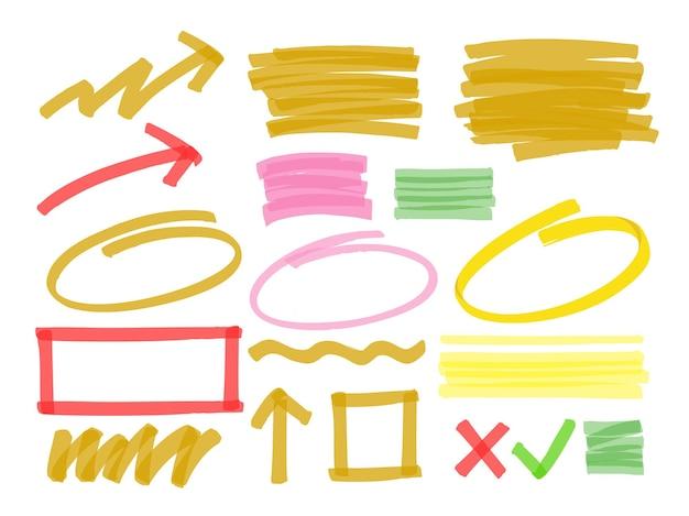 Handgetekende markerings- en markeringslijnen.