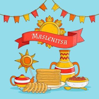 Handgetekende maslenitsa illustratie