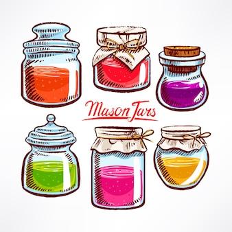 Handgetekende mason jars met kleurrijke inhoud - 2