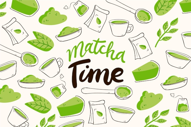 Handgetekende matcha thee achtergrond