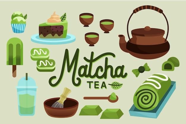 Handgetekende matcha thee behang