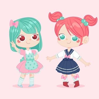 Handgetekende meisjes in lolita-stijl
