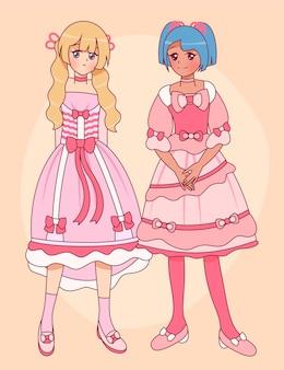 Handgetekende meisjes in lolita-stijl Gratis Vector