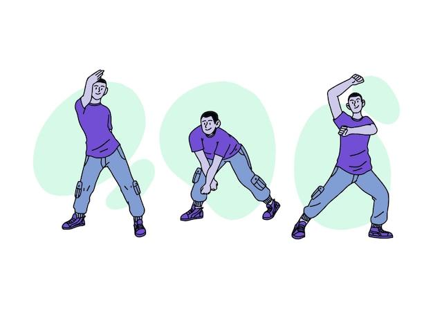 Handgetekende mensen dansen pack