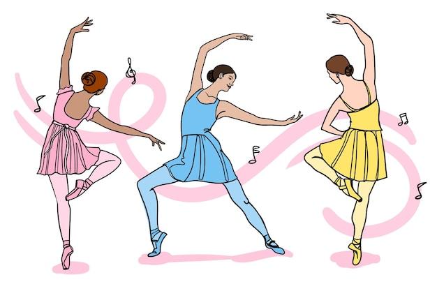 Handgetekende mensen dansen