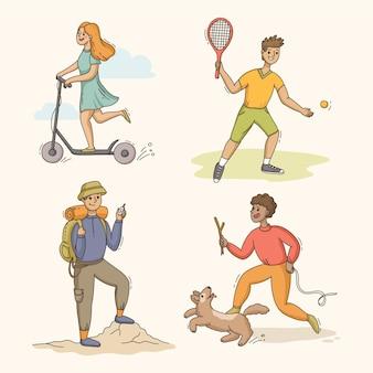 Handgetekende mensen die activiteiten in het park doen