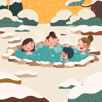 Handgetekende mensen die een bad nemen in onsen