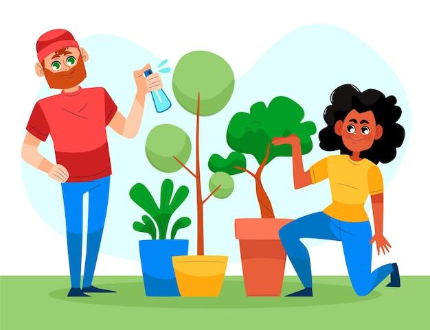 Handgetekende mensen die samen voor planten zorgen