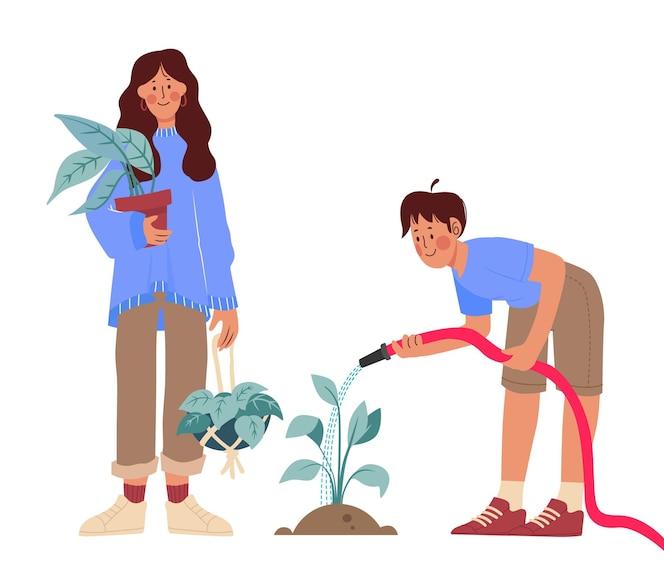 Handgetekende mensen die voor planten zorgen