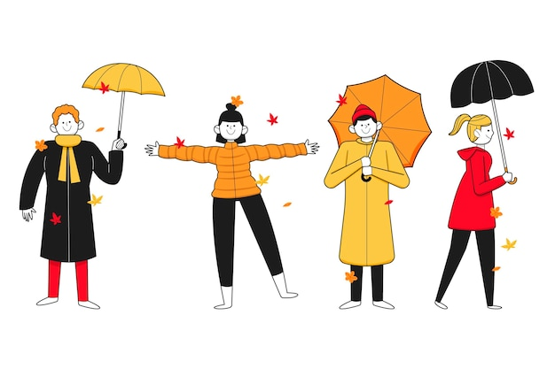 Handgetekende mensen in de herfst met paraplu's