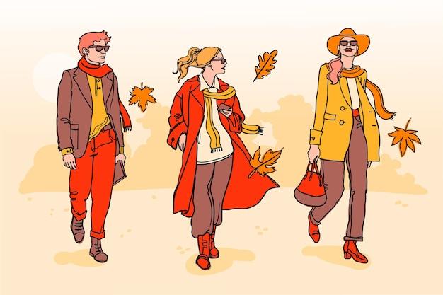 Handgetekende mensen in de herfst Premium Vector