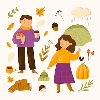 Handgetekende mensen in de herfst