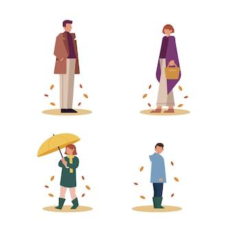 Handgetekende mensen in herfstcollectie