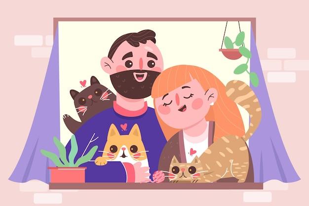 Handgetekende mensen met huisdieren