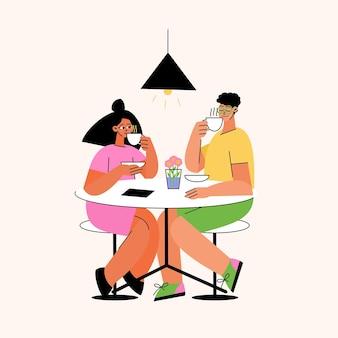Handgetekende mensen met warme dranken aan tafel