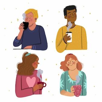 Handgetekende mensen met warme dranken