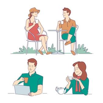 Handgetekende mensen met warme drankencollectie
