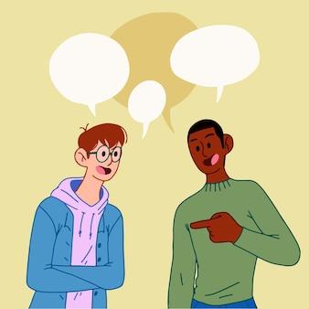 Handgetekende mensen praten