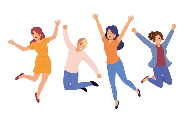 Handgetekende mensen springen illustraties