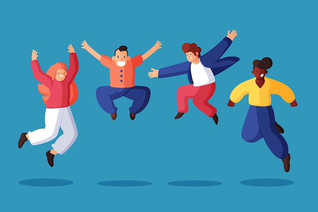 Handgetekende mensen springen