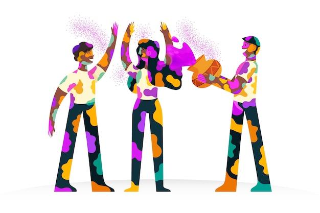 Handgetekende mensen vieren holi festival illustratie