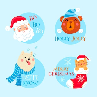 Handgetekende merry christmas badges